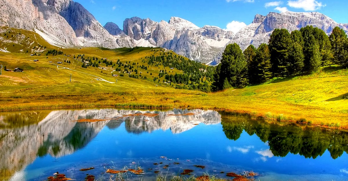 A view of a lake surrounded by mountains